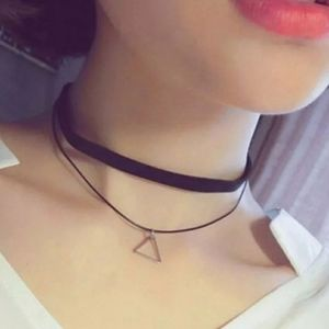 Choker Double Strand Pendant Triangle Necklace